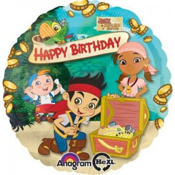 Palloncino Mylar 45 cm. Jake & The Never Land Pirates HBD