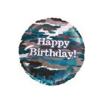 Palloncino Mylar Mini Shape 22 cm. Happy Birthday Camouflage militare
