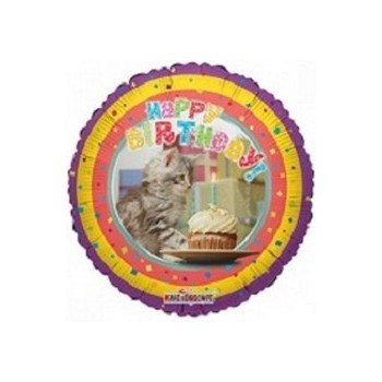 Palloncino Mylar Mini Shape 22 cm. Happy Birthday Cat