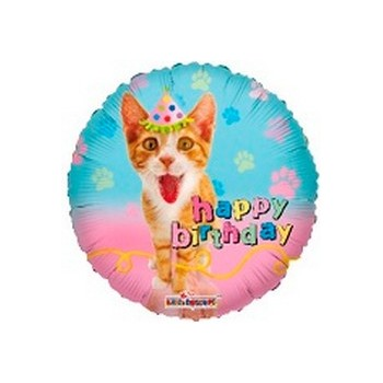 Palloncino Mylar Mini Shape 22 cm. Happy Birthday Cat Party