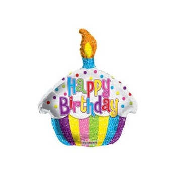 Palloncino Mylar Mini Shape 30 cm. Birthday Bright Cupcake