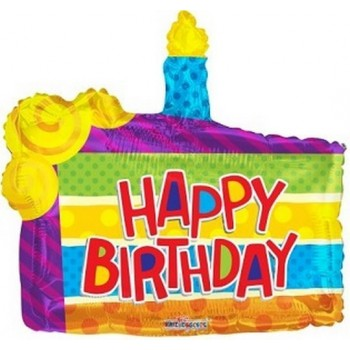 Palloncino Mylar Super Shape 91 cm. Birthday Slice Of Cake