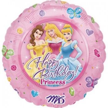 Palloncino Mylar 45 cm. Disney Princess Happy Birthday