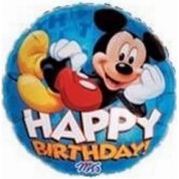 Palloncino Mylar 45 cm. Mickey Mouse Happy Birthday Blue