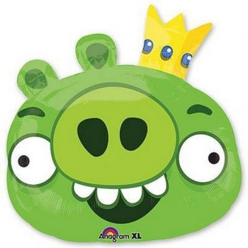Palloncino Mylar Super Shape 58 cm. Angry Birds Green King Pig