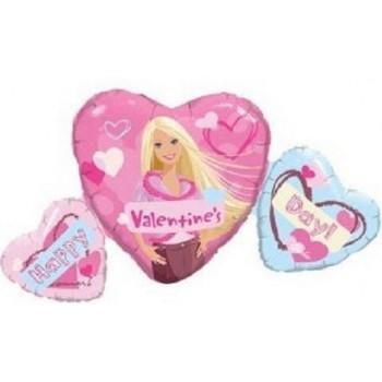 Palloncino Mylar Super Shape 83 cm. Barbie Valentine's Day Heart