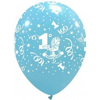 Palloncino in Lattice Rotondo 30 cm. Stampa 1° Compleanno Azzurro