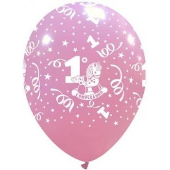 Palloncino in Lattice Rotondo 30 cm. Stampa 1° Compleanno Rosa