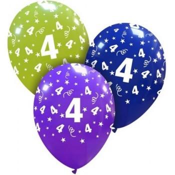 Palloncino in Lattice Rotondo 30 cm. Stampa 4° Compleanno Assortiti