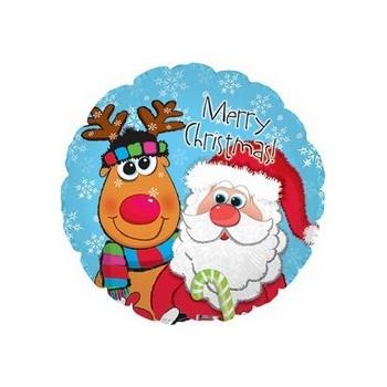 Palloncino Mylar Mini Shape 22 cm. Merry Xmas Santa & Rudolph