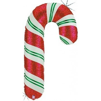 Palloncino Mylar Super Shape 91 cm. Holographic Candy Cane