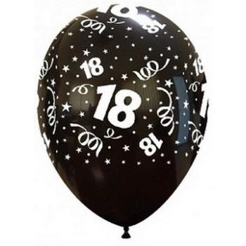 Palloncino in Lattice Rotondo 30 cm. Stampa 18° Compleanno Nero