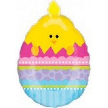 Palloncino Mylar Super Shape 68 cm. Easter Doo Dad Chick In Egg Easter