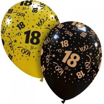 Palloncino in Lattice Rotondo 30 cm. Stampa 18° Compleanno Oro / Nero