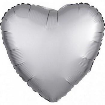 Palloncino Mylar 45 cm. Cuore Satinato Argento
