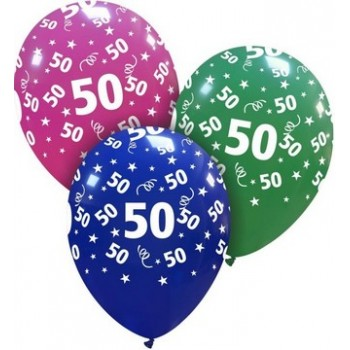 Palloncino in Lattice Rotondo 30 cm. Stampa 50° Compleanno Assortiti