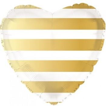 Palloncino Mylar 45 cm. Strisce Gold Heart