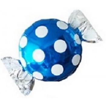 Palloncino Mylar 63 cm. Caramella a Pois Blu/Bianco