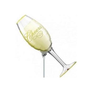 Palloncino Mylar Mini Shape 40 cm. Champagne Glass