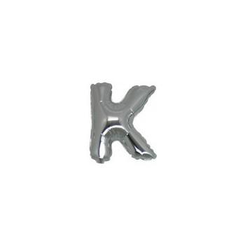 Palloncino Mylar Lettera Micro K - 17 cm. Argento