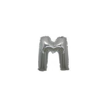 Palloncino Mylar Lettera Micro M - 17 cm. Argento