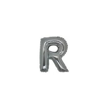 Palloncino Mylar Lettera Micro R - 17 cm. Argento
