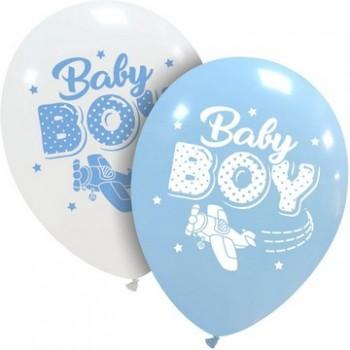 Palloncino in Lattice Rotondo 30 cm. Stampa Baby Boy Aeroplano