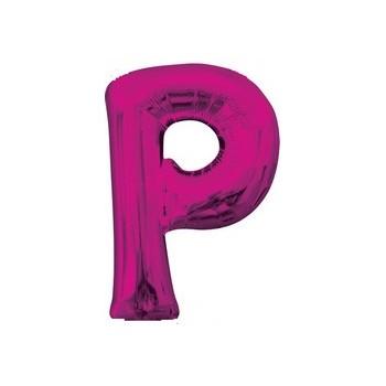 Palloncino Mylar Lettera P Media - 40 cm. Fucsia Anagram