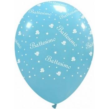 Palloncino in Lattice Rotondo 30 cm. Stampa Battesimo Azzurro