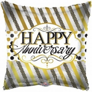 Palloncino Mylar 45 cm. Anniversary Lines & Dots