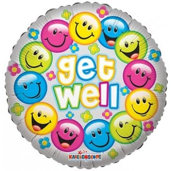 Palloncino Mylar 45 cm. Get Well Colorful Smiles