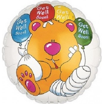 Palloncino Mylar 45 cm. Get Well Soon Bear