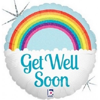 Palloncino Mylar 45 cm. Get Well Soon Rainbow