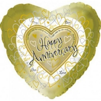 Palloncino Mylar 45 cm. Happy Anniversary Gold Hearts