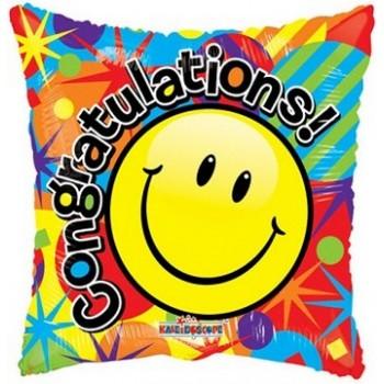 Palloncino Mylar 45 cm. Smiley Congratulations Gellibean