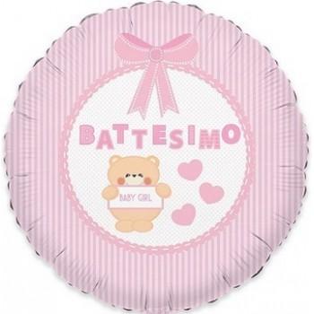 Palloncino Mylar 45 cm. Bimba - Battesimo Baby Bear Rosa