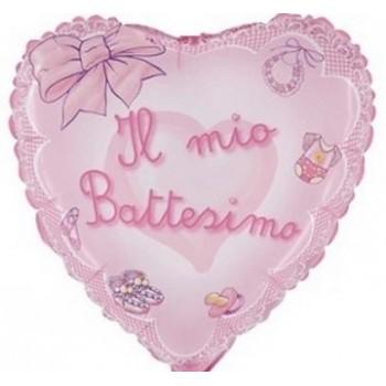 Palloncino Mylar 45 cm. Bimba - Il Mio Battesimo Rosa