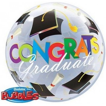 Palloncino Bubble 56 cm. Congrats Graduation Caps