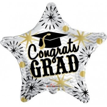 Palloncino Mylar 45 cm. Congrats Grad Gold & Silver