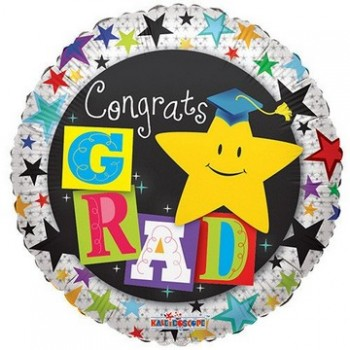 Palloncino Mylar 45 cm. Congrats Grad Yellow Star