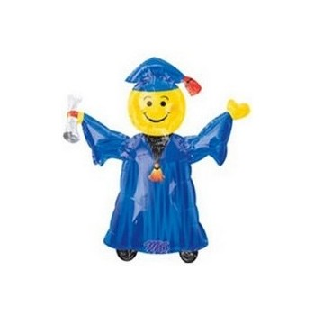 Palloncino Mylar Mini Shape 22 cm. Smiley Grad Blue