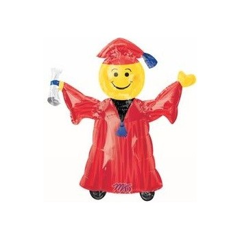 Palloncino Mylar Mini Shape 22 cm. Smiley Grad Red