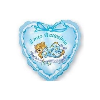 Palloncino Mylar Mini Shape 25 cm. Battesimo Azzurro Orsetto