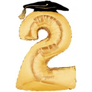 Palloncino Mylar Super Shape 91 cm. Large Number Balloon 2 Golden Graduation