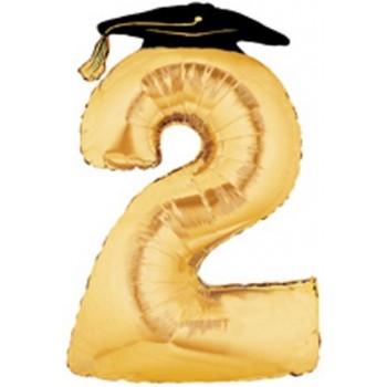 Palloncino Mylar Super Shape 91 cm. Large Number Balloon 2 Golden Graduation