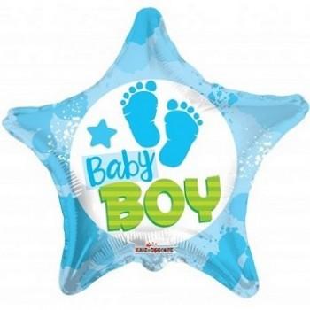 Palloncino Mylar 45 cm. Boy - Baby Boy Footprints