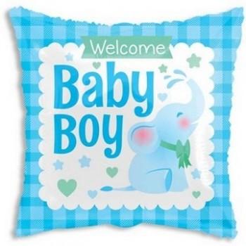 Palloncino Mylar 45 cm. Boy - Square Baby Boy Little Elephant