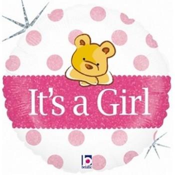Palloncino Mylar 45 cm. Girl - Holographic Baby Girl Bear