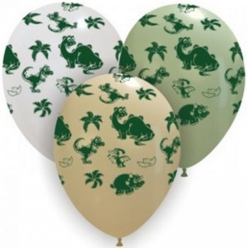 Palloncino in Lattice Rotondo 30 cm. Stampa Dinosauri Asssortiti