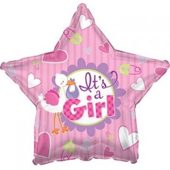 Palloncino Mylar 45 cm. Girl - It's a Girl Stork